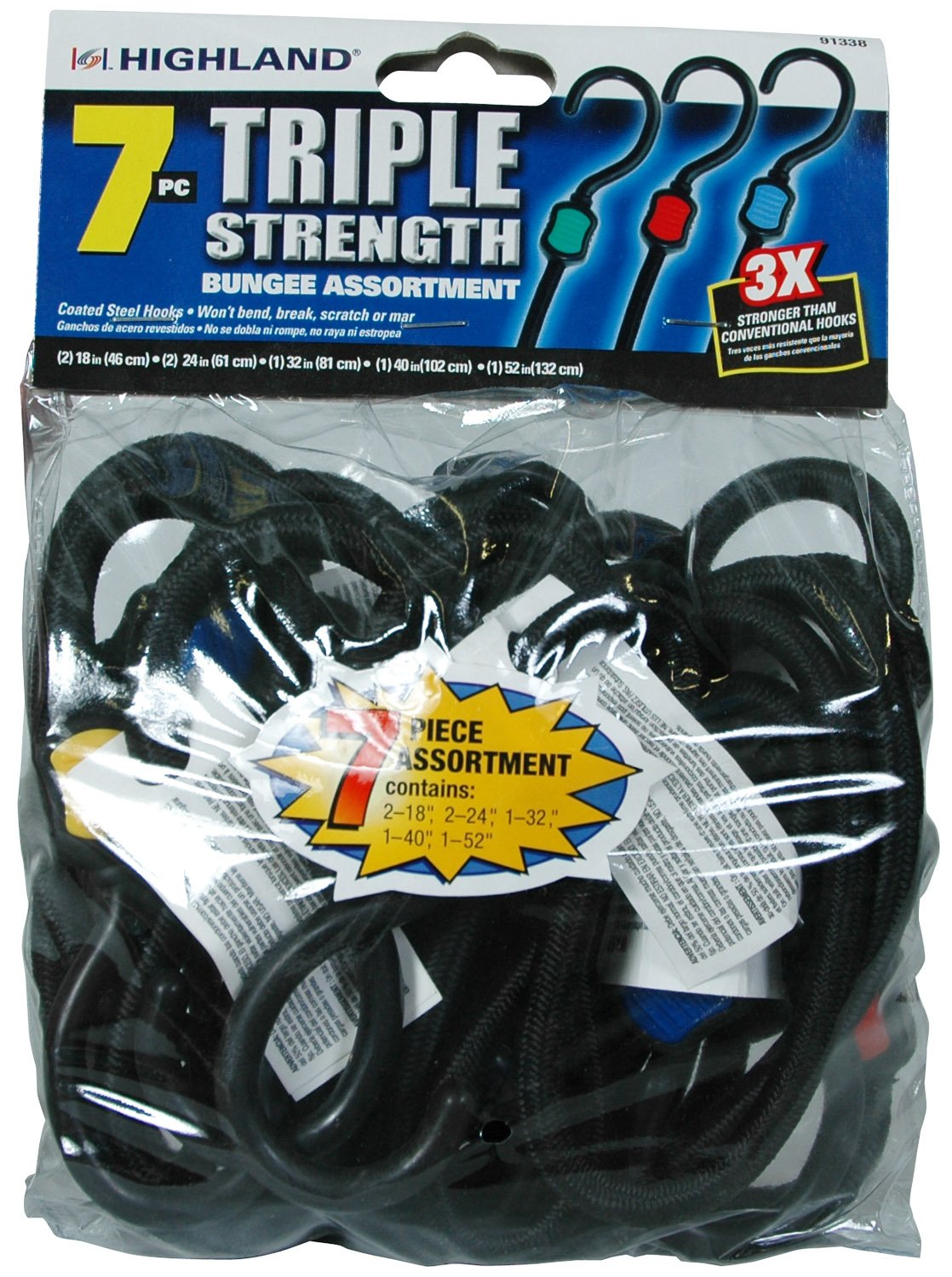 Highland 9133800 7 Piece Triple Strength Bungee Cord Assortment