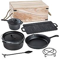 Kochtopf Holzkohlegrill XXL Gusseisen schwarz Charcoal Grill Garten Camping Picknick ✔ rund