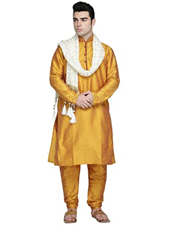 3e6bbaa66f9d Amazon.com  Indian Kurta Pajama Stole 3- Pieces Set for Men Long Sleeve  Traditional Kurta Pyjama Wedding Party Dress  Clothing