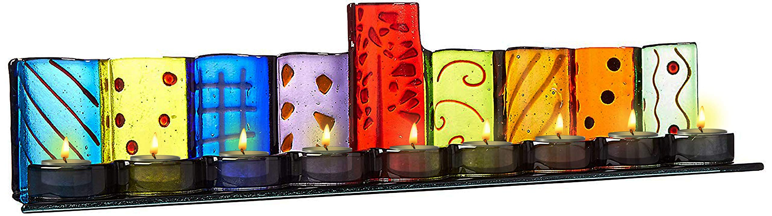Ner Mitzvah Glass Tealight Candle Menorah - Extra Large for Tea Lights - Handcrafted Colorful Glass Menora with Painted Designs