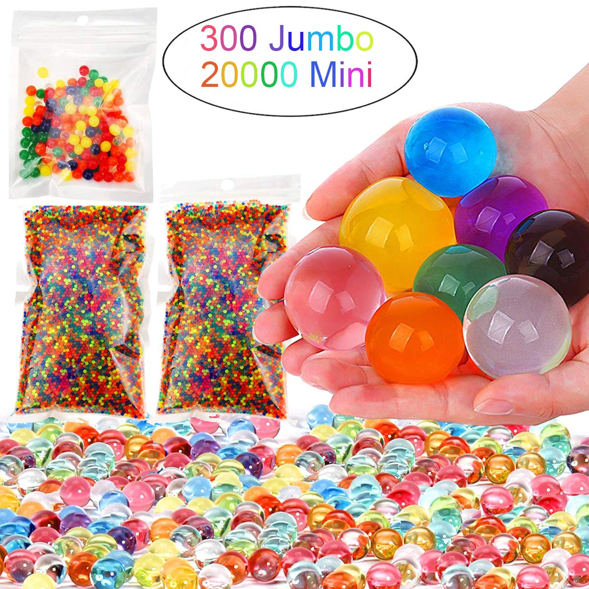 Leeche Non Toxic 300pcs Jumbo 20000 Small Water Beads Gel Beads Kit for Kids Value Package Sensory Toys and Decoration