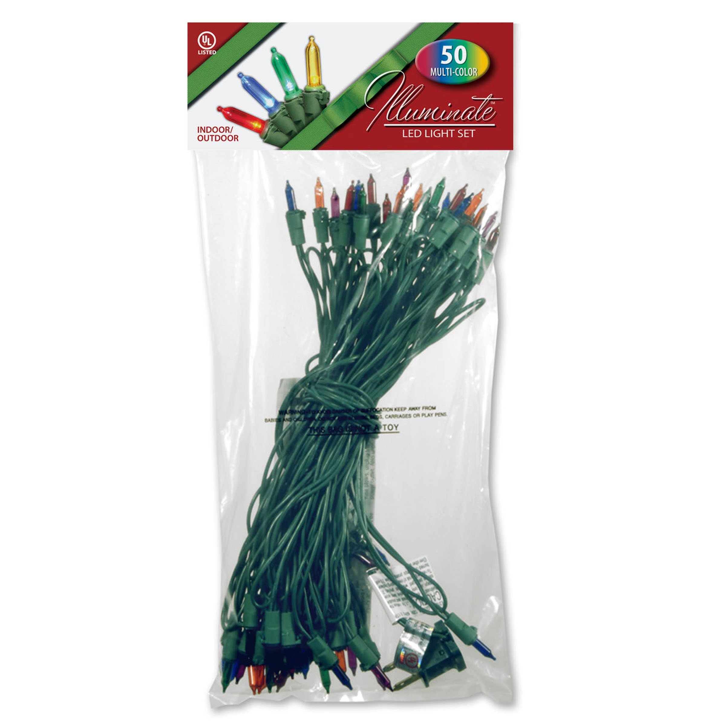National Tree 50 Bulb Outdoor 4-Color Multi LED Light Set with Green Wire and 36-Inch Lead Wire with 9-Inch Spacing and 2 Spare Bulb (LS-875-50)
