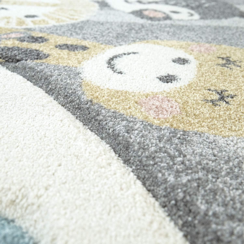 Tapis Chambre Enfant Adorable Montgolfi/ère Nuages Joyeux Animaux Pastel en Cr/ème Dimension:140x200 cm