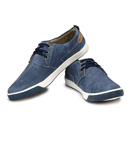 Sklodge Men s Blue and Tan Casual Canvas Sneaker Shoes 19604f0441b1