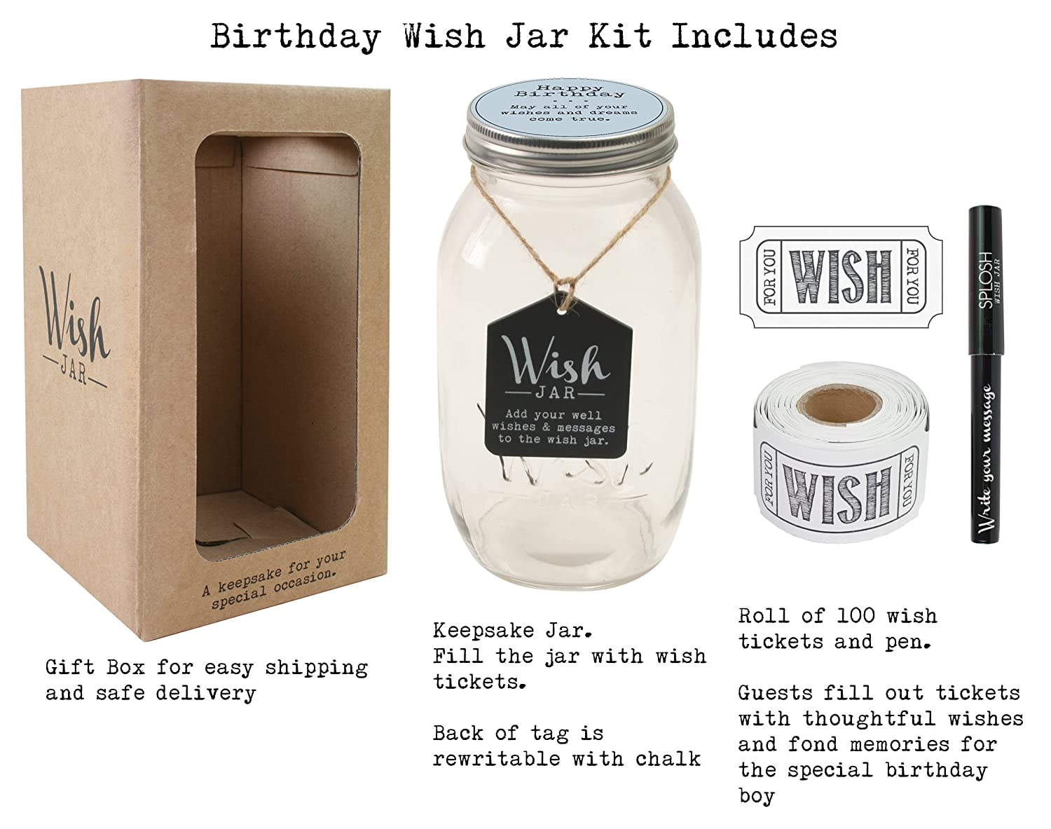 Dad Top Shelf Happy Birthday Wish Jar Unique Gift Ideas For Mom Sister And Brother Memorable Gifts For Men And Women Kit Comes With 100 Tickets And Decorative Lid