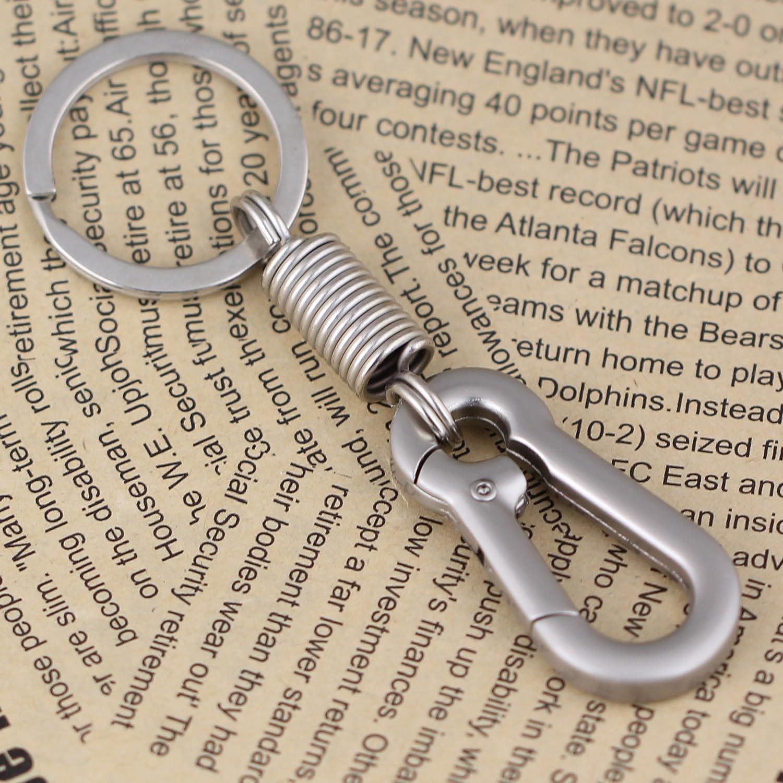Polished Silver maycom Retro Style Simple Strong Carabiner Shape Keychain Key Chain Ring Keyring Keyfob Key Holder