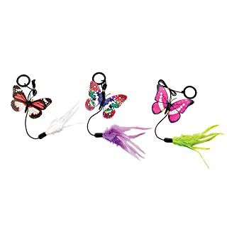 Ethical Pets Spot Assorted Colors Fluttery Butterfly Cat Toy with Teaser Ring