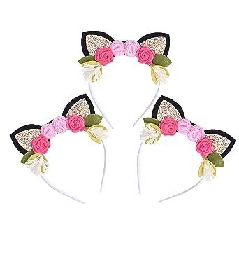 5cec3eff8627 California Tot California Tot Pack of 3 Kitty Cat Crown Headbands with  Glitter Ears   Felt