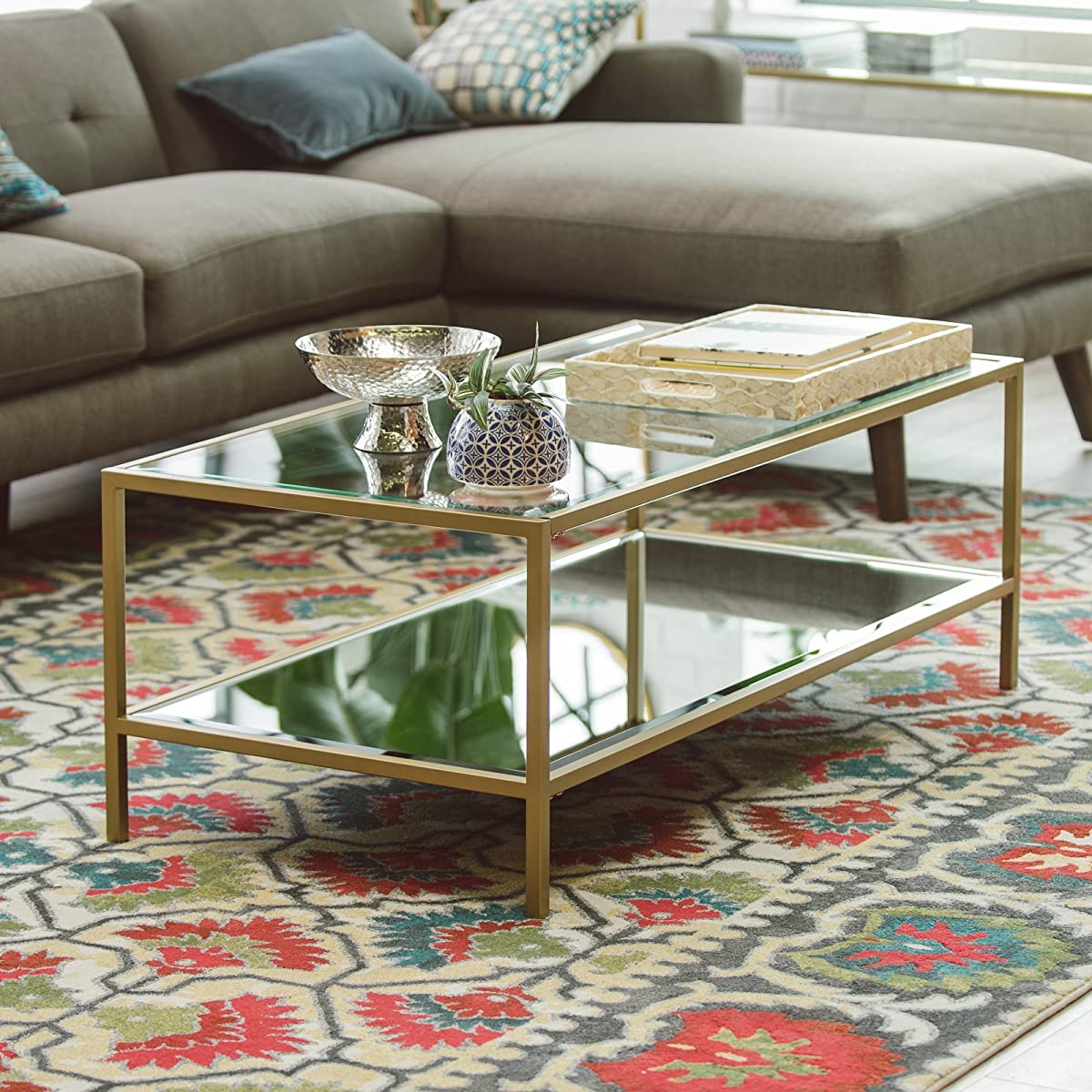 Contemporary Bella Collection Gold Metal Glass Rectangular Coffee Table With Shelf