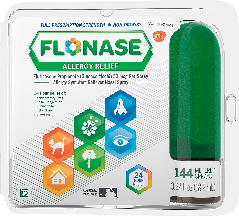 Flonase Allergy Relief Nasal Spray 24 Hour Non Drowsy Allergy Medicine 144 Sprays, (Pack of 1) 0.62 Fl Oz: Health & Personal Care