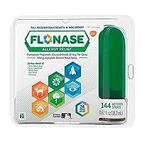 Flonase Allergy Relief Nasal Spray 24 Hour Non Drowsy Allergy Medicine 144 Sprays, (Pack of 1) 0.62 Fl Oz