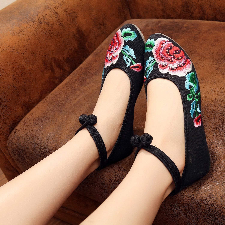 Moontang Bestickte Schuhe Sehnensohle Sehnensohle Sehnensohle Ethno-Stil weibliche Stoffschuhe Mode bequem lässig schwarz 39 (Farbe   - Größe   -) 9c2439