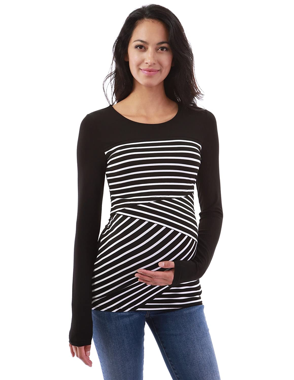 PattyBoutik Mama Crewneck Striped Nursing Maternity Blouse
