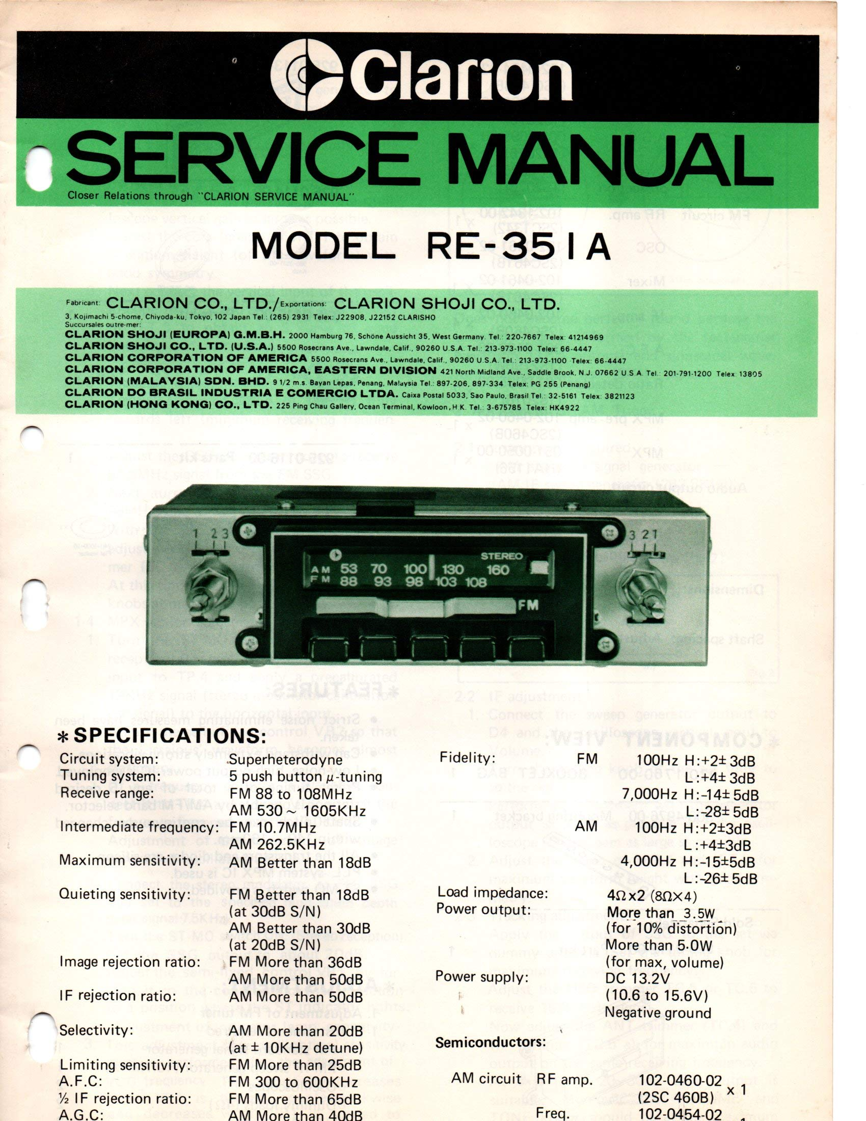 5915a59 service manual for clarion re-351a am fm stereo car radio ... |  wiring library  wiring library