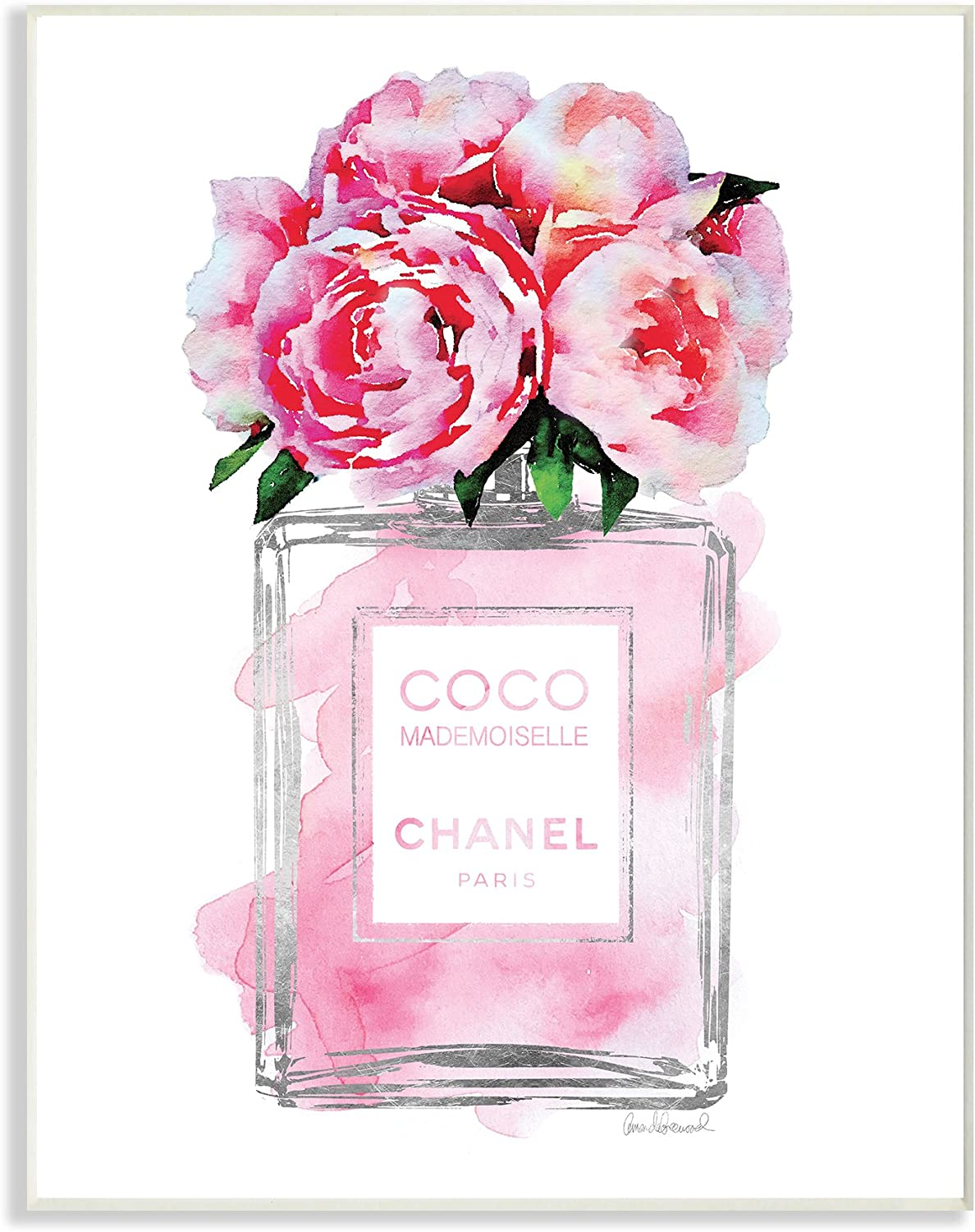 Stupell Industries Glam Perfume Bottle V2 Flower Silver Pink Peony Wall Plaque Art, Proudly Made in USA