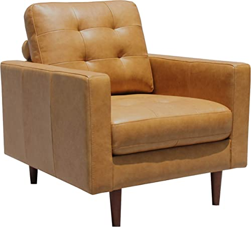 Amazon Brand Rivet Cove Mid-Century Modern Tufted Leather Accent Chair