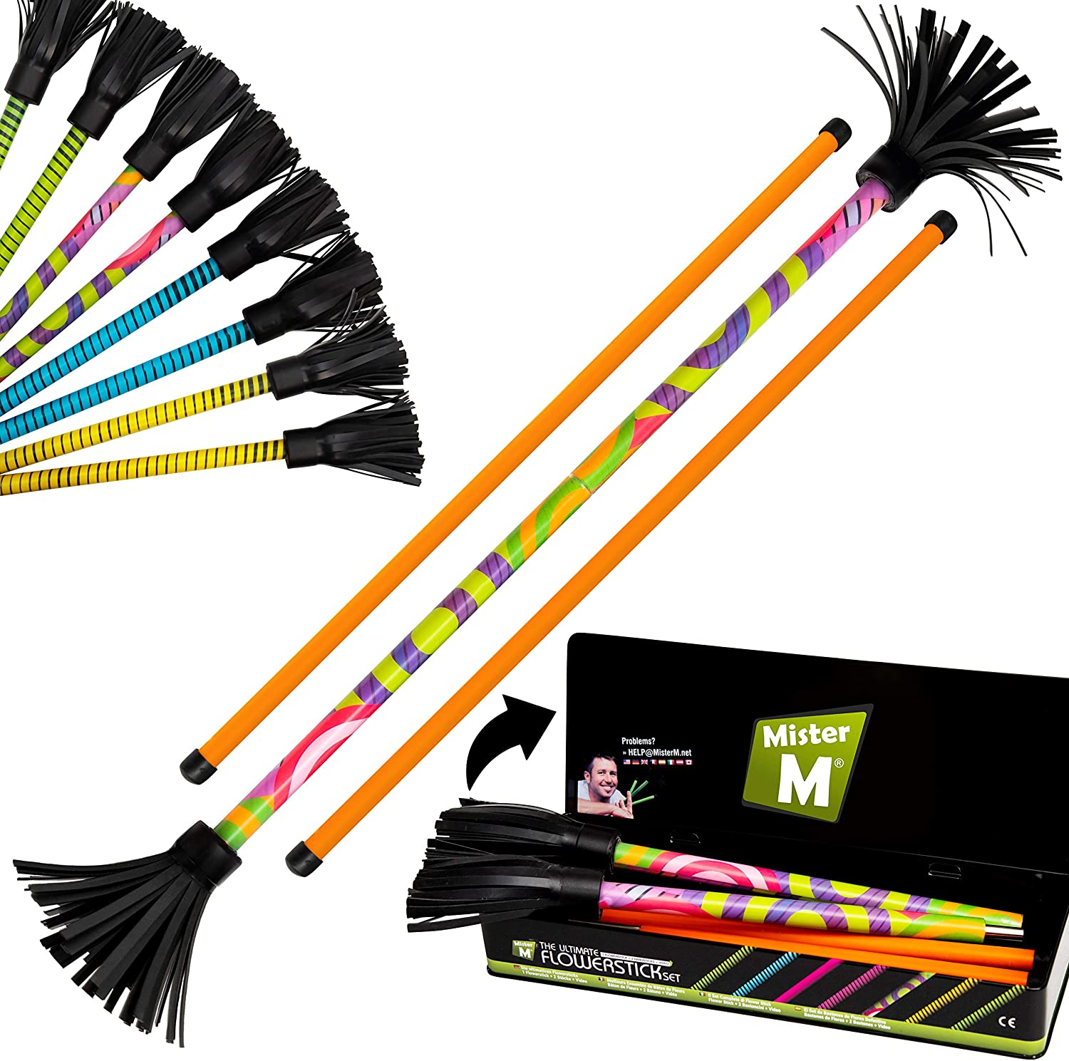 Giallo Include i Manici con Silicone Ultra-Grip da 2 mm Flower Sticks per Principianti e Professionisti. 5 Fantastici Disegni Il Completo Set Flash Flowerstick