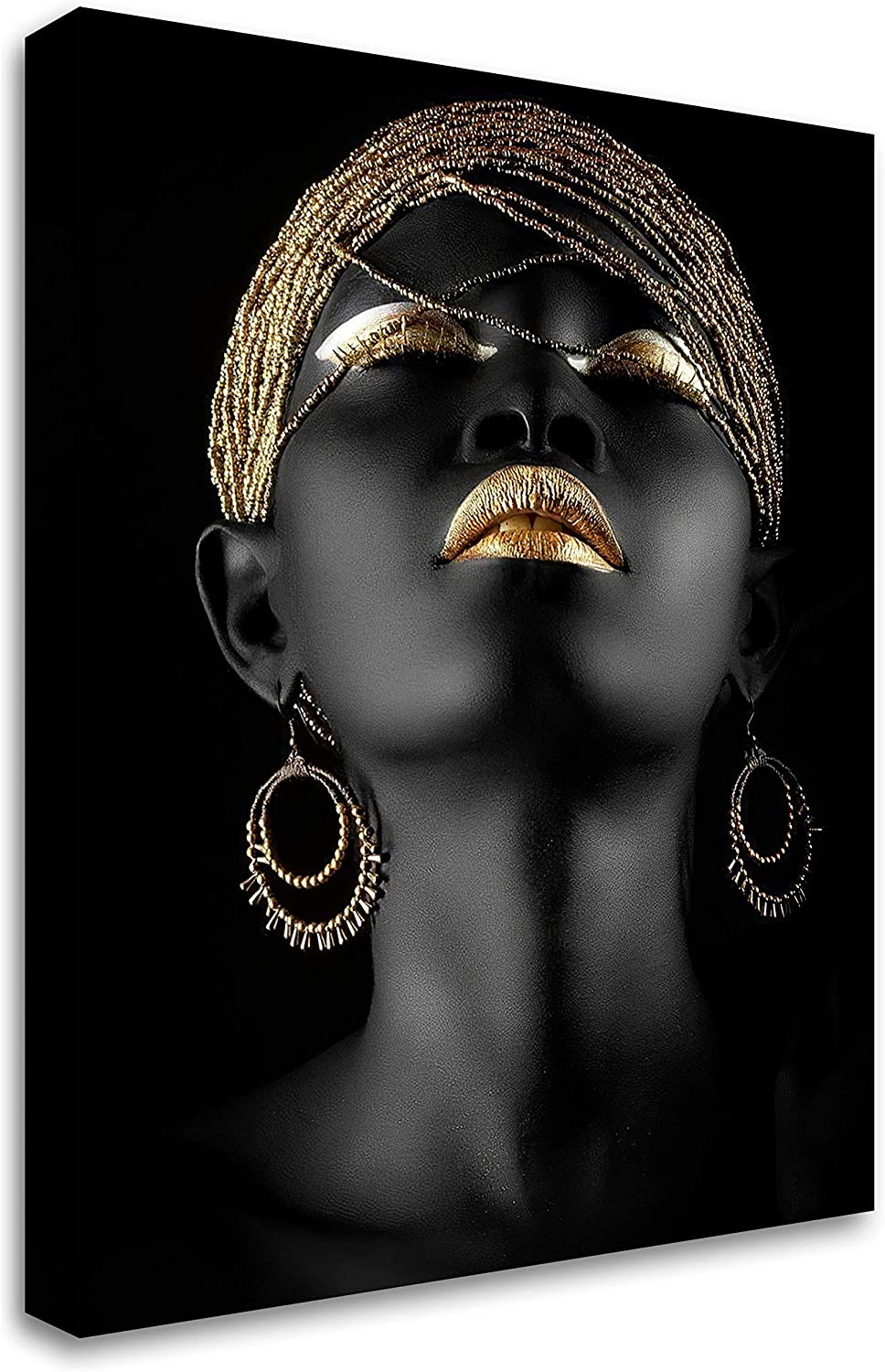 African Golden Black Girl Wall Art Prints Painting Wall Decor Women Canvas African American Wall Art For Living Room Bedroom Office Home Decor 12x16inch