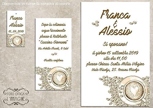Amazon Partecipazioni Matrimonio.Partecipazioni Matrimonio Personalizzate Inviti Nozze Caffe 10 Pz