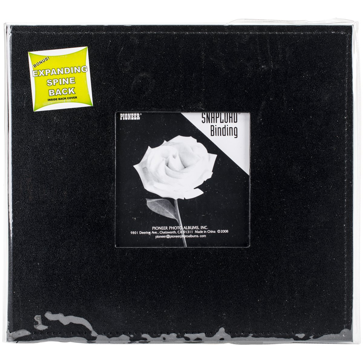 Pioneer Photo Albums 8 x 8-Inch Snapload Sewn Leatherette Frame Cover Memory Book, Black SL-88FBK