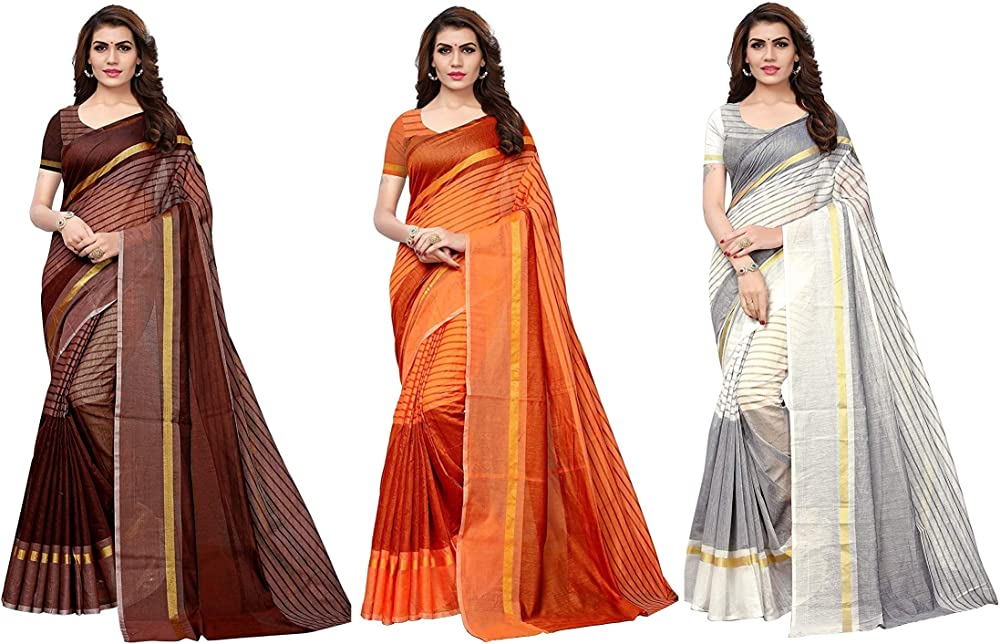 GoSriKi Cotton with Blouse Piece Saree (Pack of 3) (TS-03-BROWN-ORANGE-WHITE_Multicolor_FS)