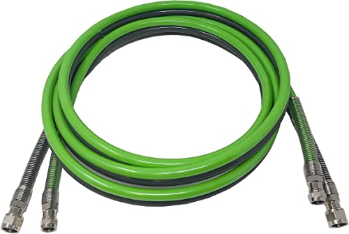 Dux Non-Conductive Flexible Painting Coating Twin Hose-Fluid Air with Reusable Fittings Works with Pressure Pots Pumps 100-FT