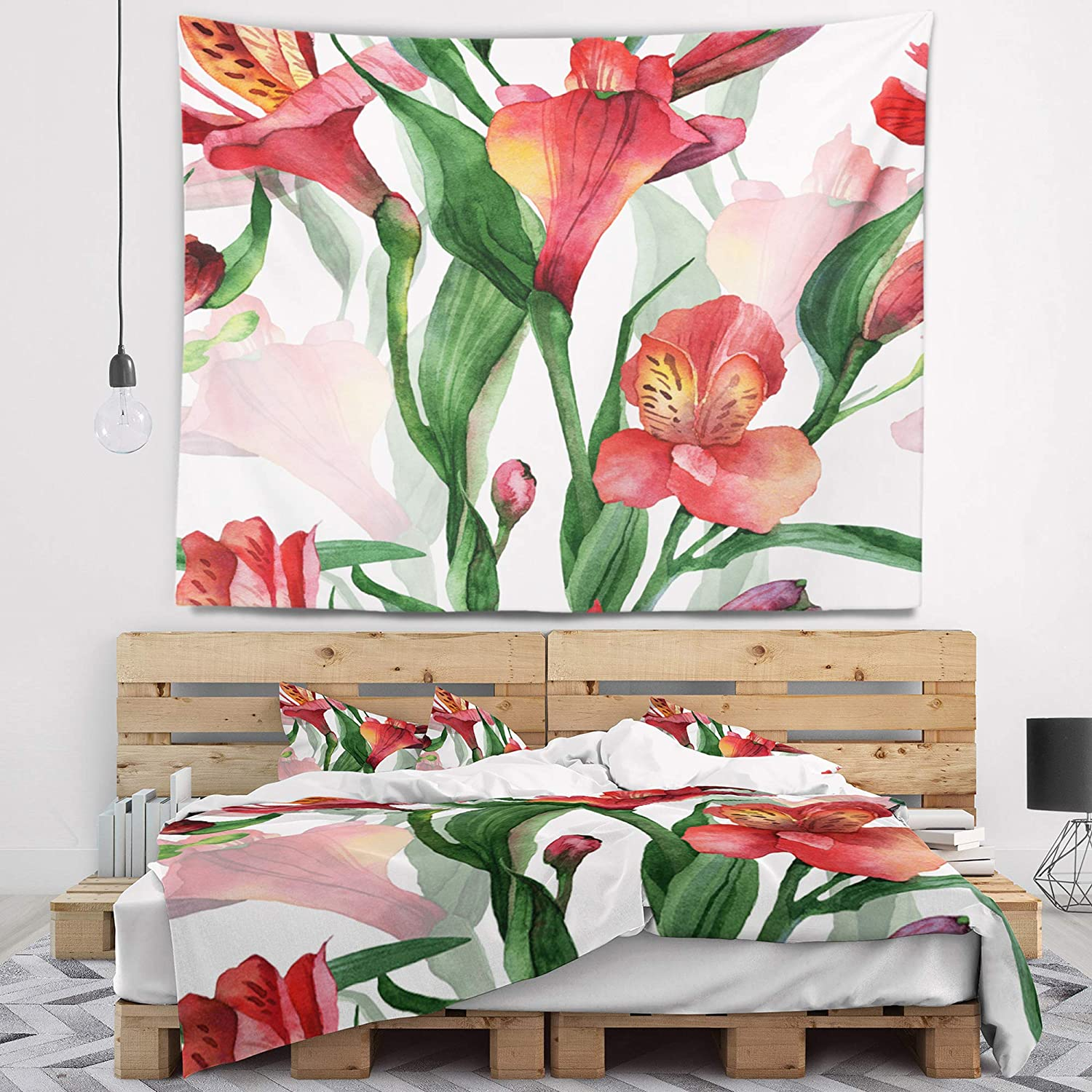 Designart TAP7407-39-32  Red Pattern Floral Blanket D/écor Art for Home and Office Wall Tapestry Medium 39 x 32 Created On Lightweight Polyester Fabric