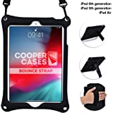 Cooper Bounce Strap Shoulder Strap Rugged Case for Apple iPad 6, iPad 5, iPad Air 1 | Shock Proof Heavy Duty Cover with Stand, Hand Strap (Black)