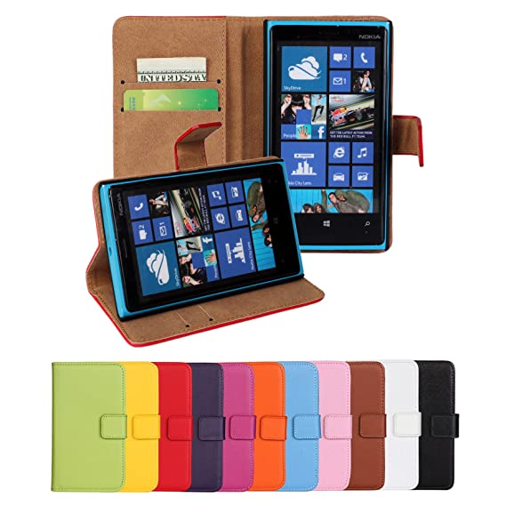 online retailer d5bb0 ab1e3 Lumia 920 Case, iCoverCase Genuine Leather Magnetic Flip [Card Slot] Wallet  Cover Kickstand Case for Nokia Lumia 920 (Black)