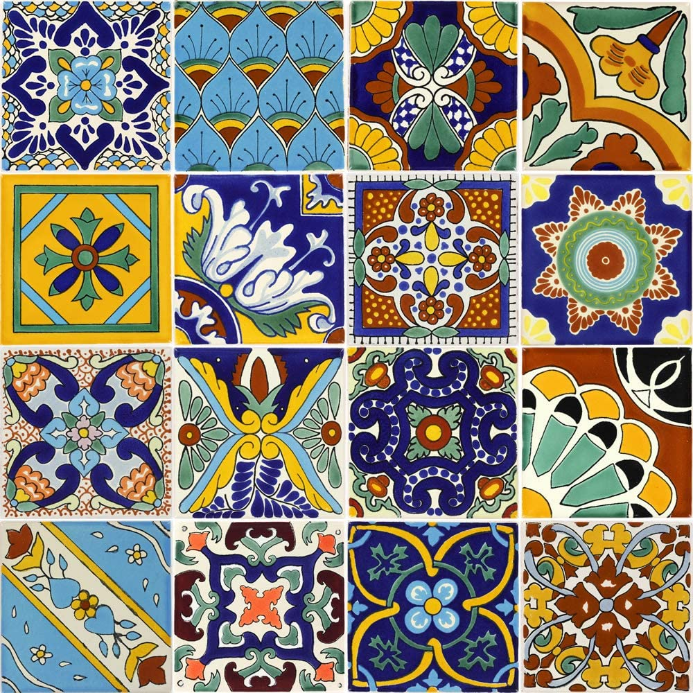 Nine 2 x 2 in 9 Talavera Ceramic Mexican Tiles Tierra y Fuego Tile Set
