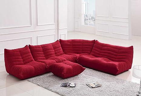 Amazon.com: Divani casa Bloom – moderno tela sofá seccional ...