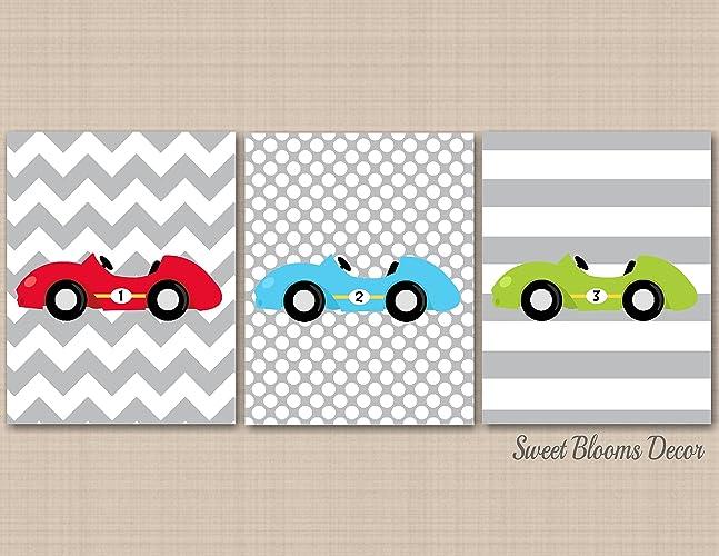 Amazon.com: Transportation Décor,Cars Nursery Wall Art,Race Cars ...