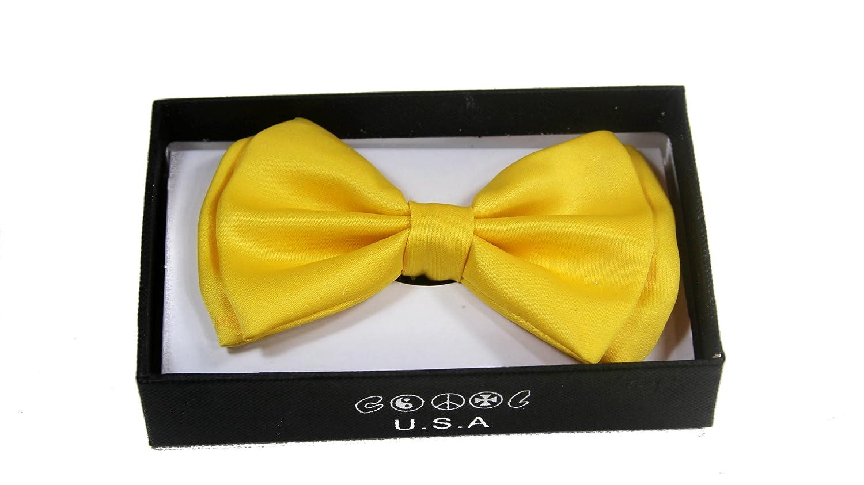 Yellow NEW Tuxedo Classic Bowtie Pure Plain Neckwear Adjustable Unisex Bow Tie