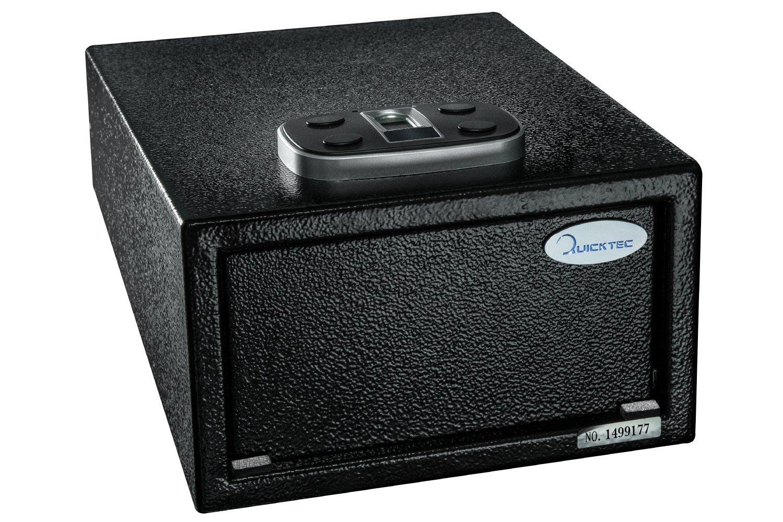 Biometric Pistol Safe, Quick Access Fingerprint Handgun Safes, Smart Gun Safe with Auto-Open Lid and Digital Keypad (Standard Size-biometric)
