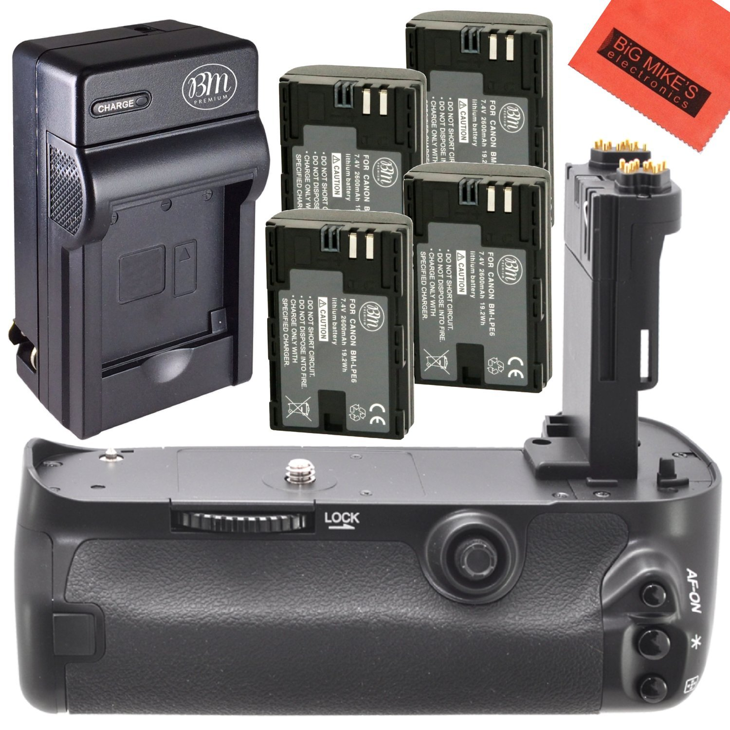 Battery Grip Kit for Canon EOS 5D Mark III, EOS 5DS, EOS 5DS R Digital SLR Camera Includes Vertical Battery Grip + Qty 4 Replacement LP-E6 Batteries + Rapid AC/DC Charger by Big Mike's