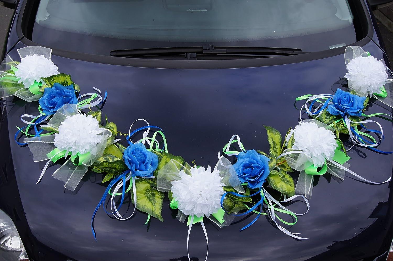 Autoschmuck Autodeko Auto Deko Schleifen Hochzeit Girlande Blau Weiß  LA57 Variant 2: Amazon.de: Garten
