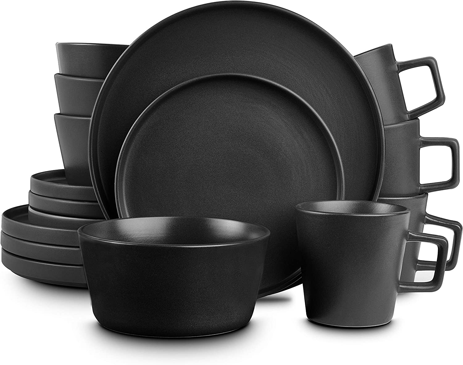 Stone Lain Coupe Dinnerware Set, Service For 4, Matte Black