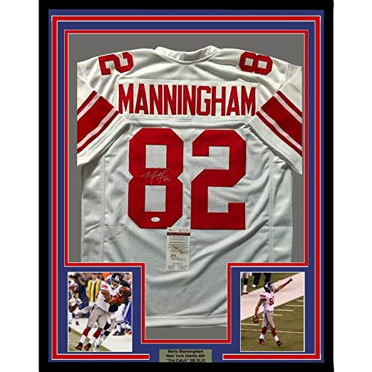 670ac3eeba5 Amazon.com  Mario Manningham Autographed Jersey - FRAMED 33x42 NY Giants  White COA - JSA Certified - Autographed NFL Jerseys  Sports Collectibles