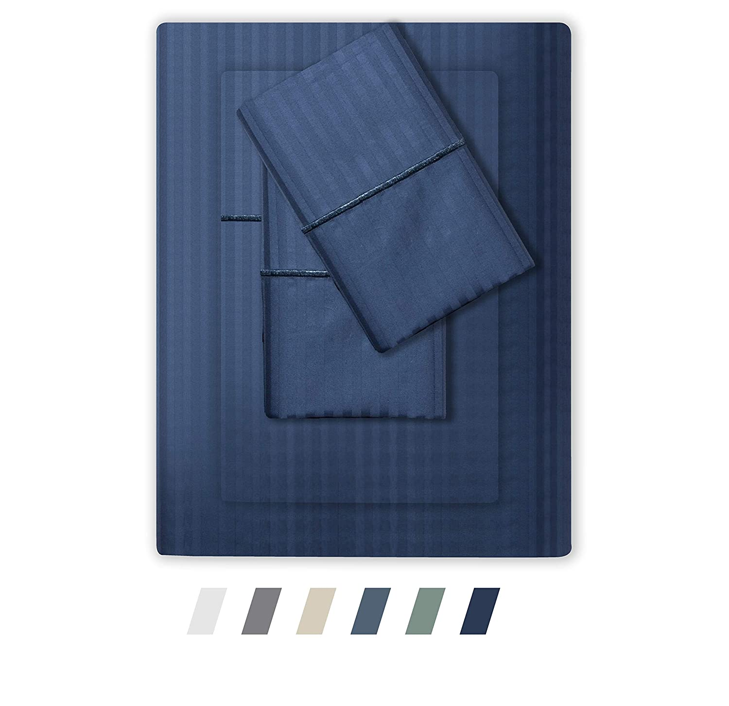 FEATHER & STITCH NEW YORK 500 Thread Count 100% Cotton Sheet Set, Stripe Sheets, Soft Sateen Weave,King Sheets, Deep Pockets,Hotel Collection,Luxury Bedding Super Sale 100% Cotton (Dark Blue, King)