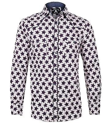 89d6ed34 Rock Roll n Soul Men's Star Design Long Sleeve Western Inspired Shirt  'Starman' 366