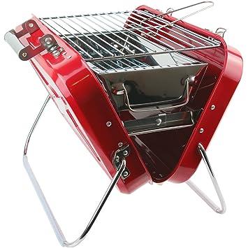 La Chaise Longue - Barbacoa portátil de carbón, maleta roja de acero inoxidable 37-