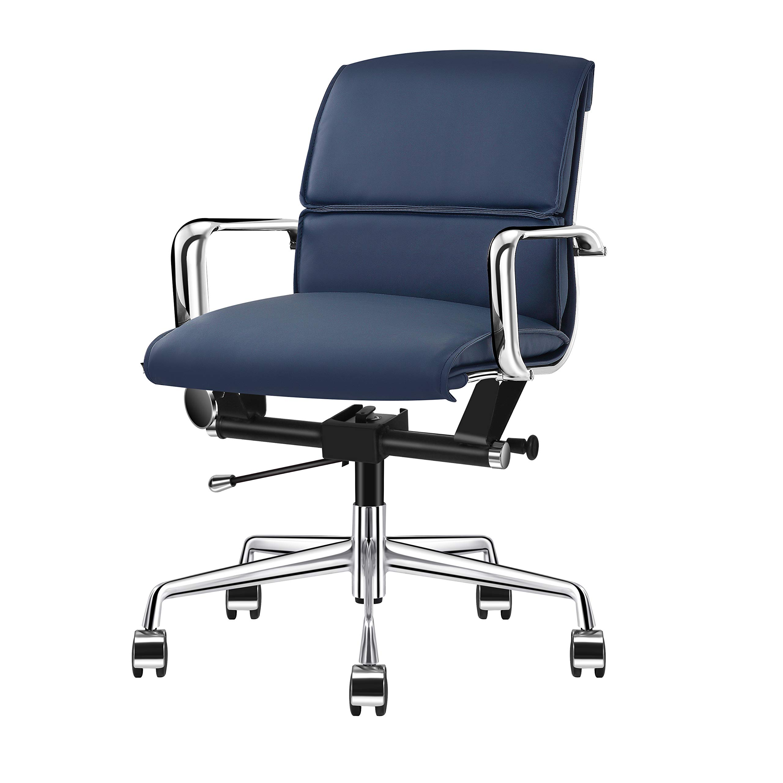 LUXMOD Mid Back Office Chair with Armrest, Adjustable Swivel Chair in Durable Vegan Leather, Ergonomic Desk Chair for Extra Back & Lumbar Support – Navy