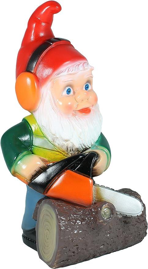 Figura enanito de jardín con sierra de cadena PVC fabricado en Alemania Jardín Figura Decorativa Enano: Amazon.es: Jardín