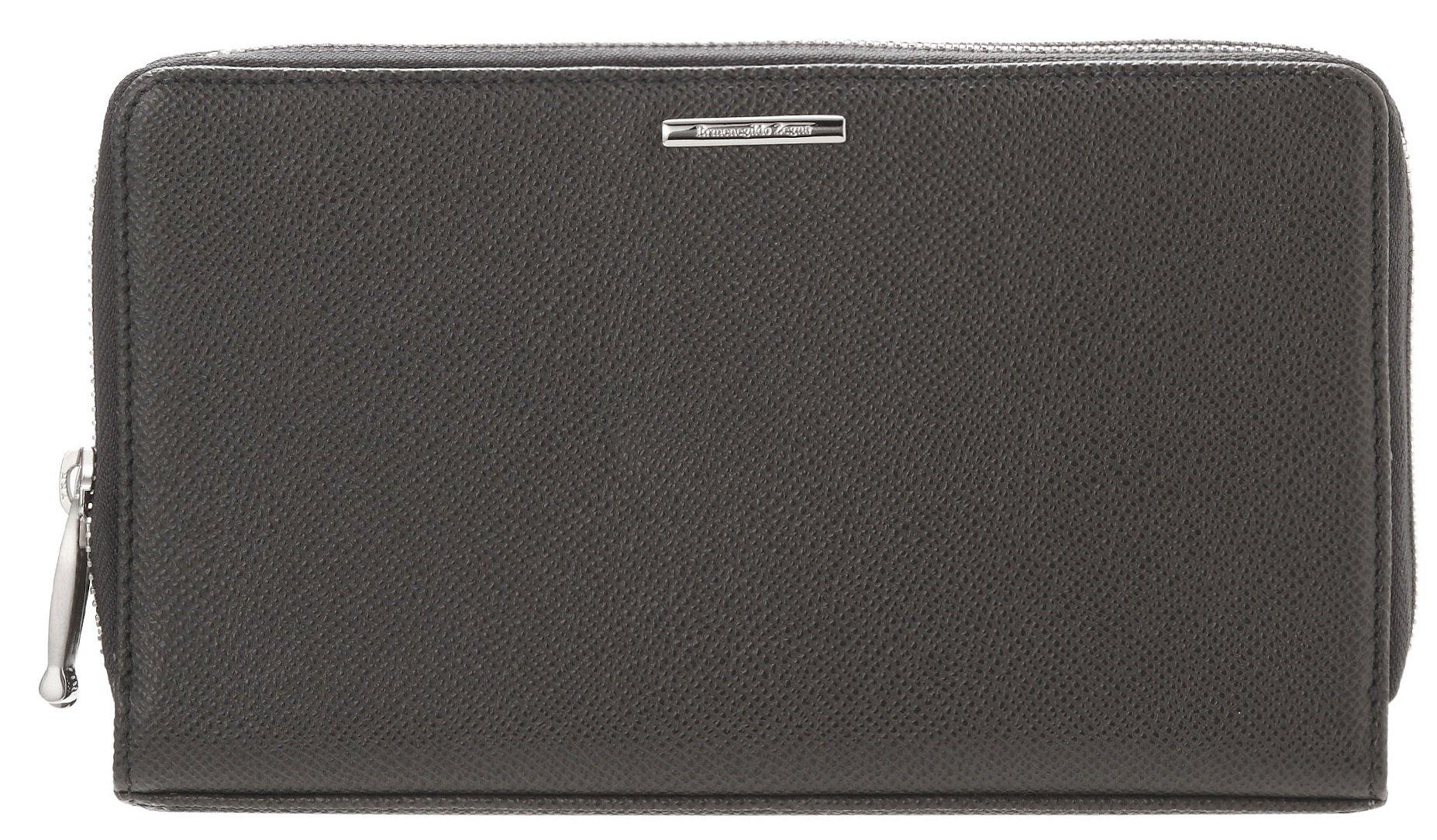 Ermenegildo Zegna Men's Grained Leather Travel Wallet (One Size, Grey)