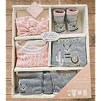 Baby Girl Set, Infant, Newborn Girl Gift Set. Pink, Gray, White. 5 Piece Llama Layette Set. Bodysuit, Legging, bib…