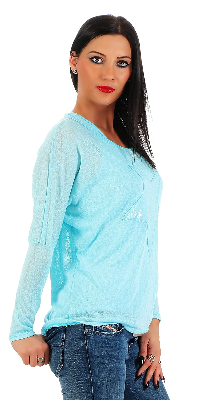 Moda Italy Damas 2 en 1 Camisa Larga Camisa del Palo Blusa túnica con Lentejuelas Top Star Motivo suéter de la cáscara: Amazon.es: Ropa y accesorios