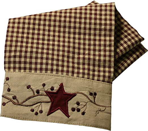 New Primitive Country Farmhouse Cotton Burlap RED STAR BERRY Dish Hand Towel