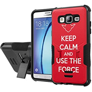 Galaxy [On5] Armor Case [NakedShield] [Black/Black] Urban Shockproof Defender [Kick Stand] - [Red Keep Calm Use The Force] for Samsung Galaxy [On5]