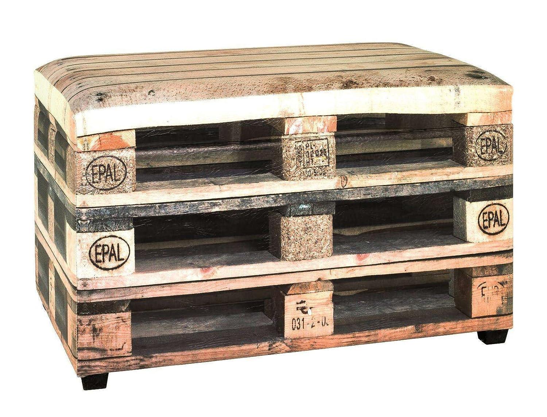 AVANTI TRENDSTORE - Wall - Pouf contenitore in similpelle, disponibile con due diversi motivi, offre molto spazio. LAP ca. 65x42x40 cm (Europallet marrone)