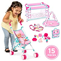 Best Choice Products Kids 15-Piece 13.5in Newborn Baby Doll Nursery Role Play Playset...